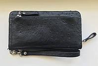 Мужской  кошелек из натуральной кожи страуса