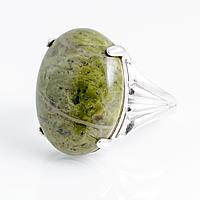 Унакит яшма, 20*15 мм., серебро 925, кольцо, 859КЦУ