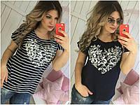 Женская футболка  Полоска-цветы, фото 1
