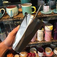 Стакан с крышкой и трубочкой гнутый Starbucks Silver