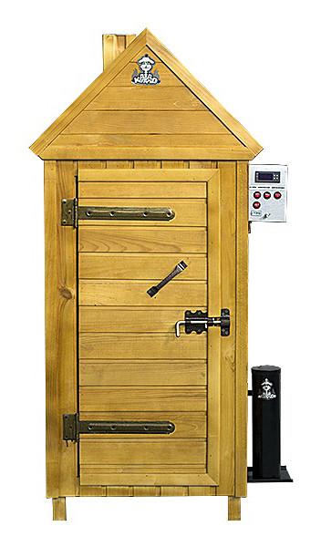 Коптильня холодного и горячего копчения деревянная с функцией вяления + 2 кг щепы