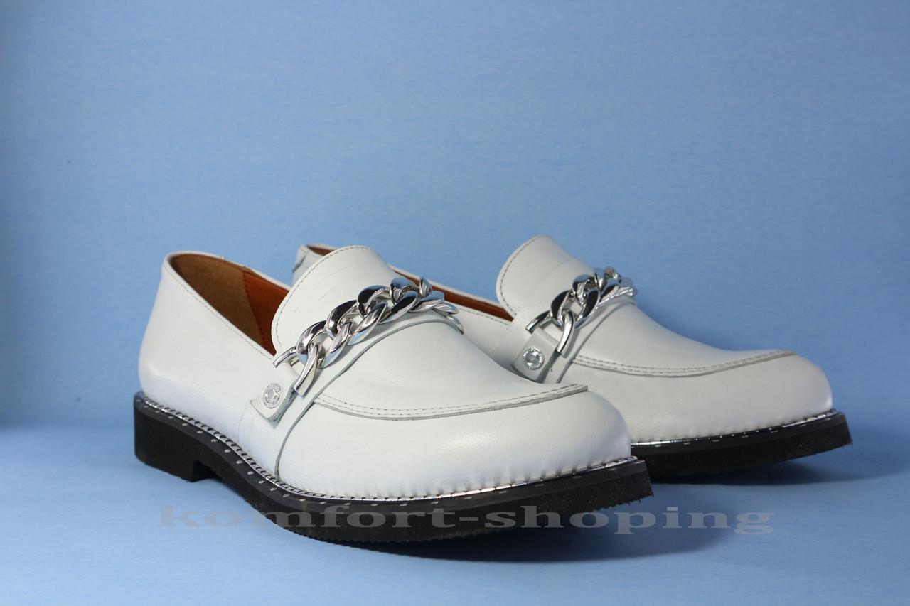 Туфли  женские кожаные, белые V 1168