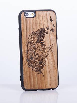 Деревянный Чехол для iPhone 6s, iPhone 6 с узором Перо