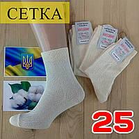 Мужские носки летние с  сеткой Житомир 100% хлопок 25 размер бежевые НМЛ-06381