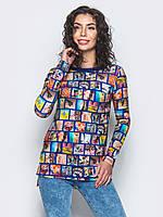 Яскрава жіноча туніка з подовженою спинкою і довгими рукавами 90289/2, фото 1