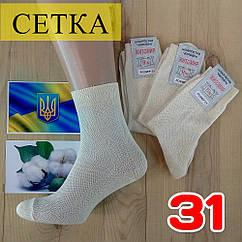 Мужские носки летние с сеткой Житомир 100% хлопок 31 размер бежевые НМЛ-06384