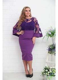 Женская блуза нарядная Тема с майкой фиолет / размер 48-72