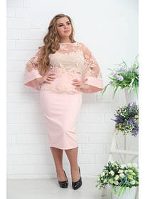 Женская блуза нарядная Тема с майкой пудра / размер 48-72