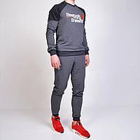 Чоловічий спортивний костюм Reebok Crossfit (Рібок) / світшот і штани на манжеті - сірий