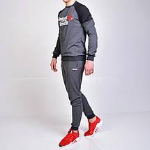 Чоловічий спортивний костюм Reebok Crossfit (Рібок) / світшот і штани на манжеті - сірий, фото 3