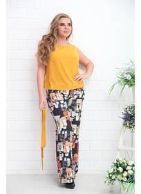 Женская блуза Дикси горчица / размер 48-72 большие размеры