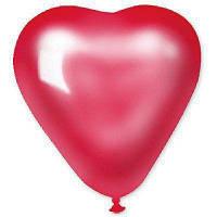 "Сердце 6""  Металлик красное / 100 шт"