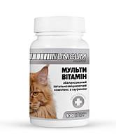 Мультивитамины UNICUM premium для котов с таурином, общеукрепляющий комплекс