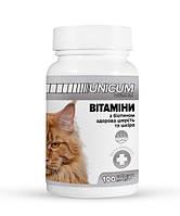 Витамины UNICUM premium для котов с биотином для здоровой шерсти и кожи