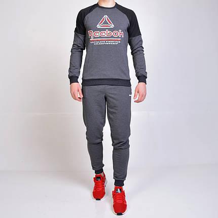 Спортивный костюм Reebok (Рибок) / свитшот и штаны на манжете - серый, фото 2