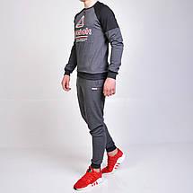 Спортивный костюм Reebok (Рибок) / свитшот и штаны на манжете - серый, фото 3