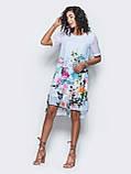 Платье прямого кроя с нежным цветочным принтом и короткими рукавами ЛЕТО, фото 6