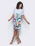 Платье прямого кроя с нежным цветочным принтом и короткими рукавами ЛЕТО, фото 8
