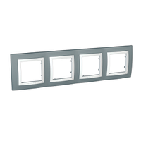 Рамка 4-местная Unica Schneider Серый Техно/Белый, MGU2.008.858