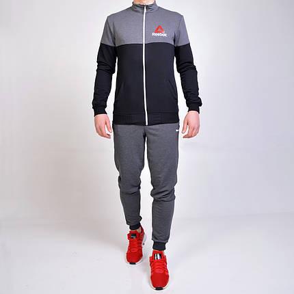 Спортивный костюм Reebok (Рибок) из трикотажа двухнитки - серый с черным , фото 2