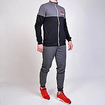 Спортивный костюм Reebok (Рибок) из трикотажа двухнитки - серый с черным , фото 3