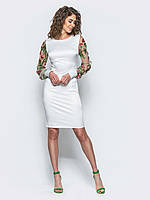 Элегантное женское приталенное платье  с рукавами из сетки с вышивкой 90290/1