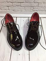 Туфли оксфорды женские на плоской подошве лаковая натуральная кожа цвета шоколад Код 1441, фото 2