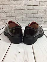 Туфли оксфорды женские на плоской подошве лаковая натуральная кожа цвета шоколад Код 1441, фото 3