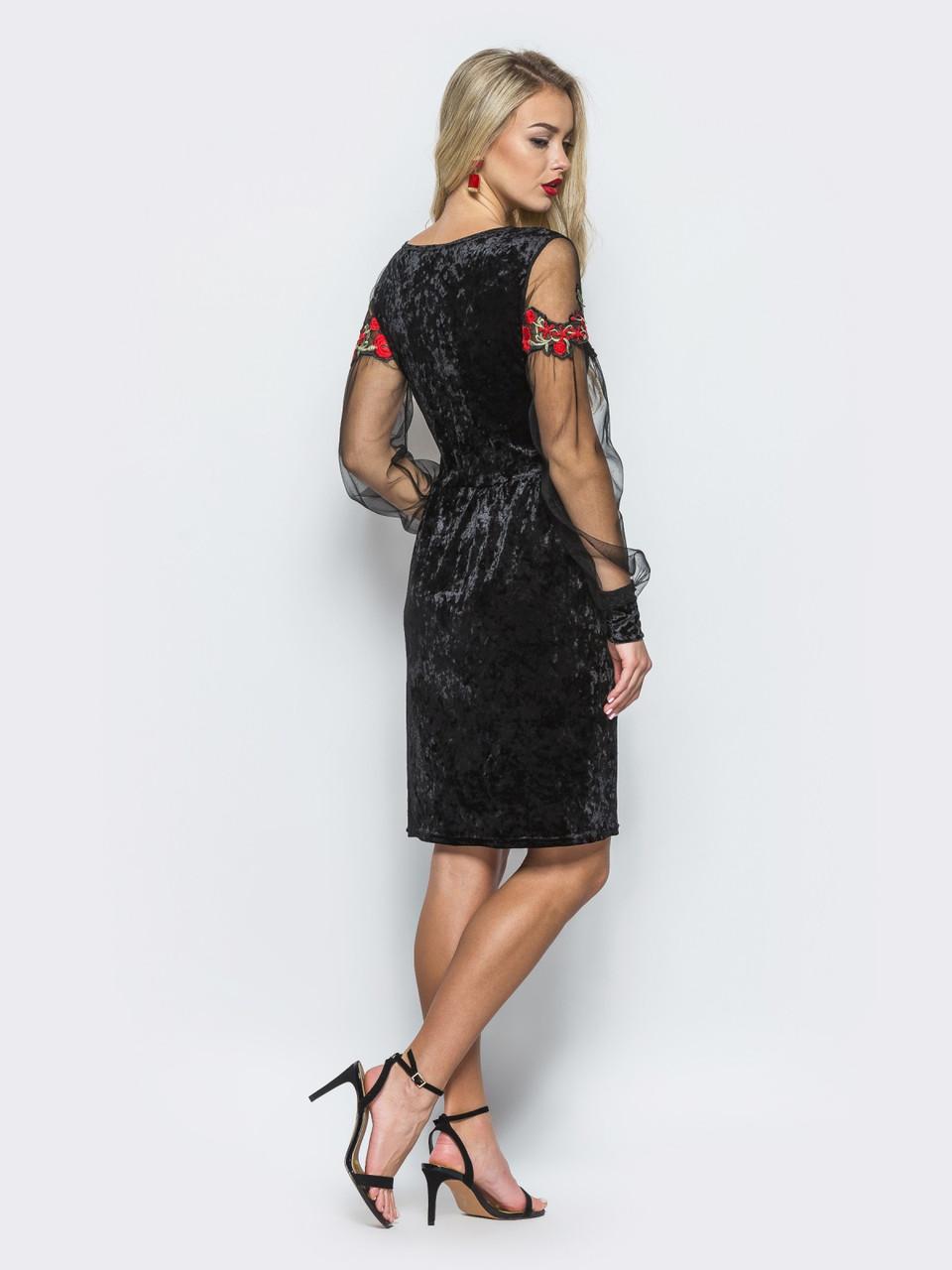 7682558821aaa12 Нарядное женское велюровое платье с рукавами из сетки и вышивкой 90291,  цена 549 грн., купить в Харькове — Prom.ua (ID#685102512)
