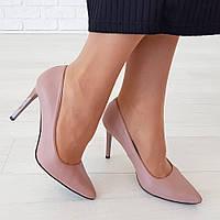 Туфли на каблуке из натуральной кожи пудровый , фото 1