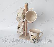 Набор чашек Krauff 24-269-051 на деревянной подставке