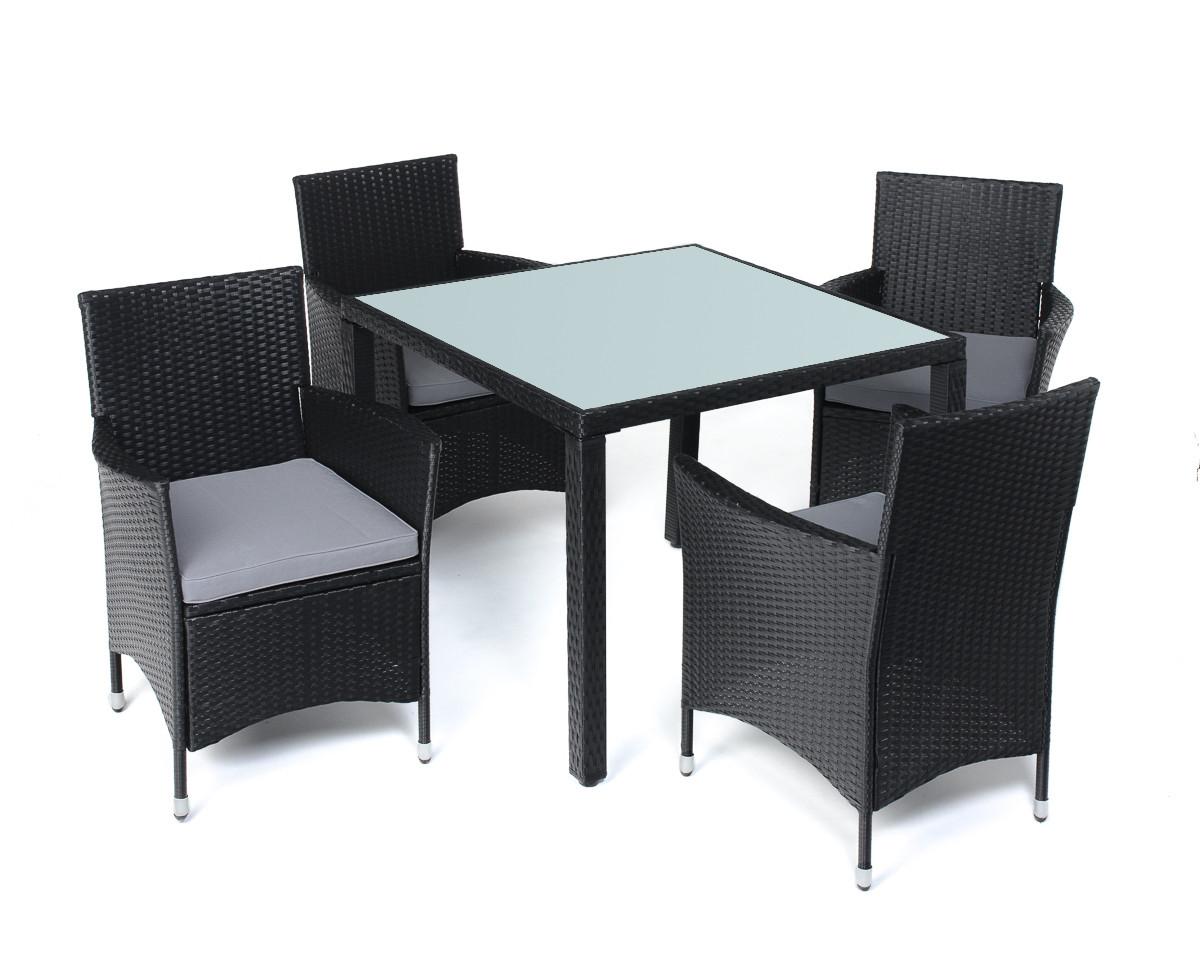 Комплект мебели из техноротанга BAHAMA (стекло 4 стула)