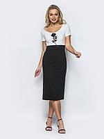 Комфортне жіноча сукня-футляр з розрізом ззаду і короткими рукавами 90292/1, фото 1