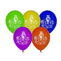 """Гелиевый шар с обработкой с рисунком 12"""" 30 см пастель фиксики"""