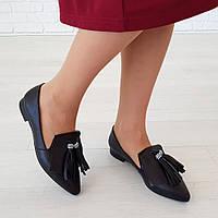 Туфли с кисточкой на низком ходу черный