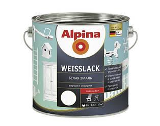 Эмаль алкидная Alpina Weisslack универсальная, глянцевая, 2,5л