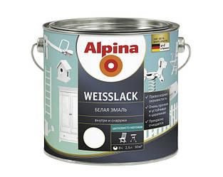 Эмаль алкидная Alpina Weisslack универсальная, полуматовая, 2,5л