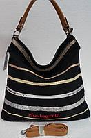 Черная сумка  полосатая с льном, фото 1