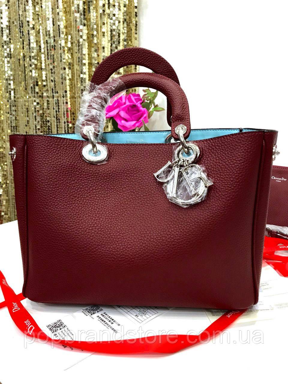 df11e5f4f0a0 Женская кожаная сумка DIOR Diorissimo lux бордо (реплика): продажа ...