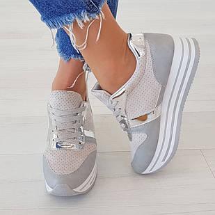 Кроссовки серебряные женские 40 размер маломерные Woman's heel с закругленным носком