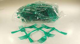 Цветная одноразовая пластиковая вилка, для фруктов, зеленая, Юнита