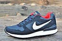 Кроссовки мужские натуральная кожа, замша темно синие легкие Nike Air Max реплика (Код: М1105)