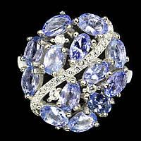 Серебряное кольцо с танзанитами 5 мм*3мм