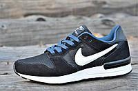 Кроссовки мужские натуральная кожа, замша черные легкие Nike Air Max реплика (Код: М1106)