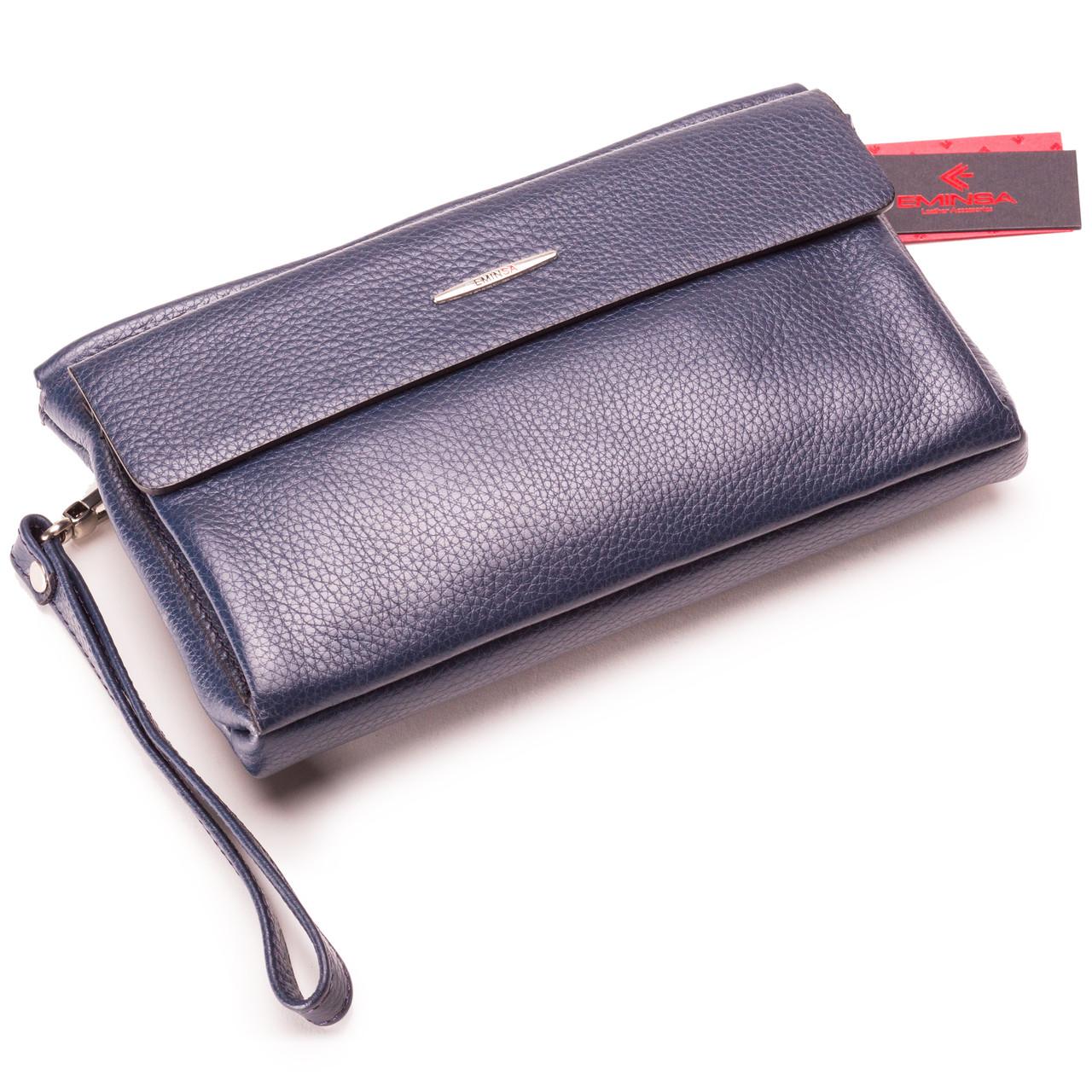 Мужская кожаная сумка клатч синяя Eminsa 5093-37-19
