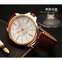 Мужские кварцевые часы YAZOLE classic (Brown/White)