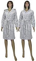 Халат женский махровый 03517-2 Шиншилла с капюшоном, р.р. 40-56
