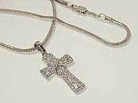 Комплект: цепочка с крестиком, родий 7-052