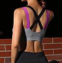 Спортивный топ с чашками цветные лямки (серый), фото 2