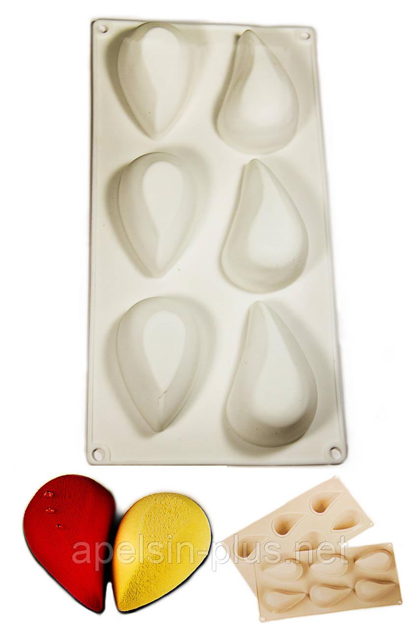 Силиконовая форма для муссовых десертов Капля 6 ячеек